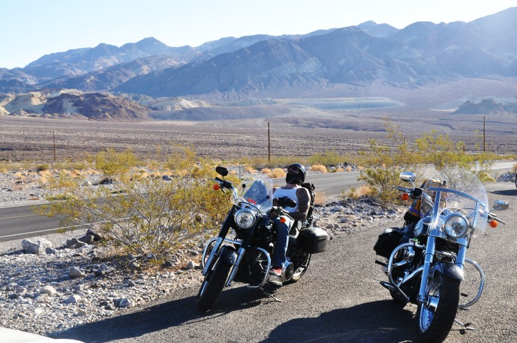two motorbikes in death valley