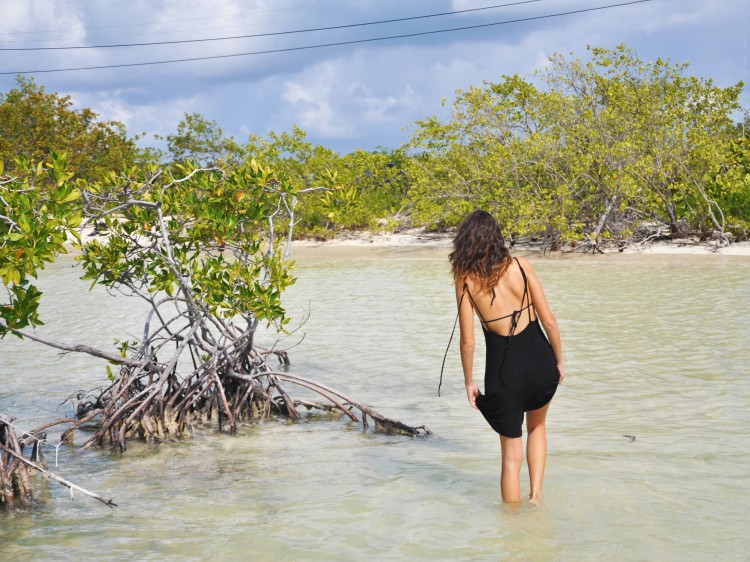 girl in anegada mangrove