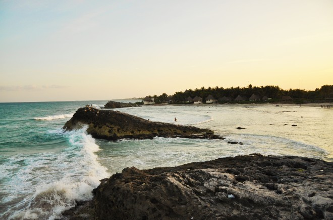 Tulum beach and ocean  with wave