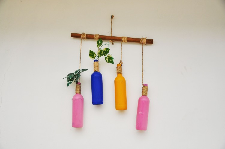 colourful bottles with plants in mexico