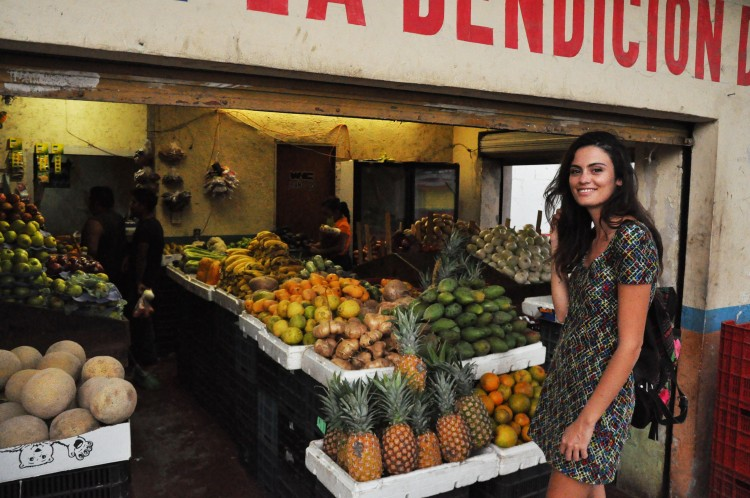 Girl in mexican fruitery