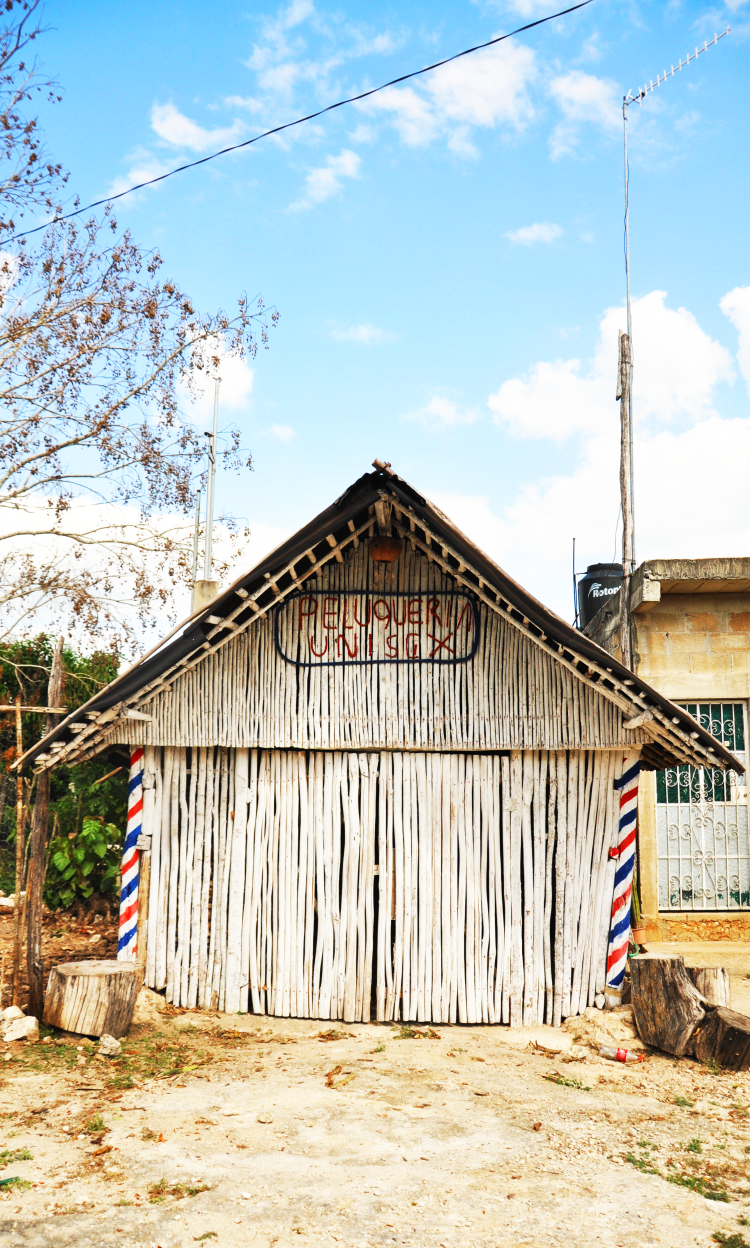 Bamboo barber shop in mexico