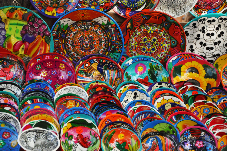Colourful plates in Mexico