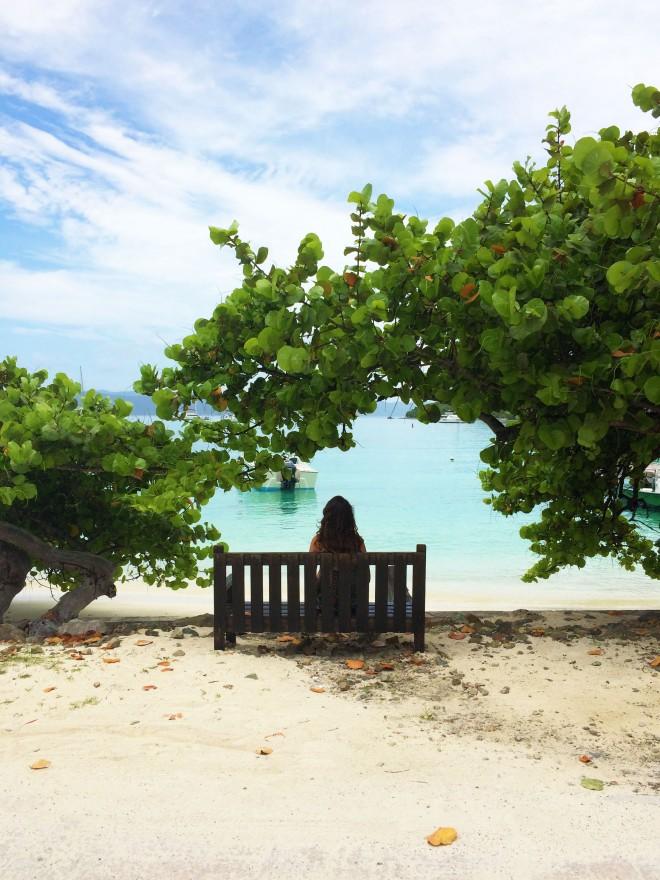Girl on bench in jost van dyke