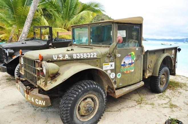 Ols military jeep in jost van dyke in bvi