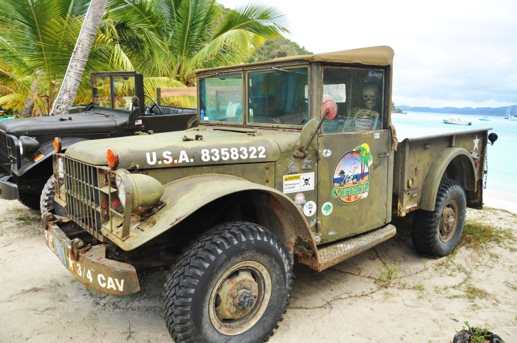 Ols military jeep in jost van dyke in bvi