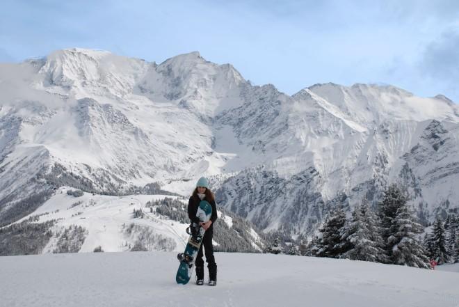 Girl in Chamonix snowboarding