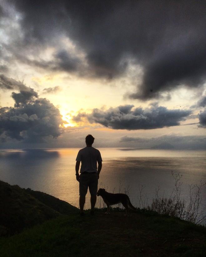 Quattropani sunset with dog