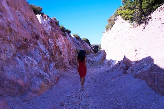 Girl in red dress in Lipari