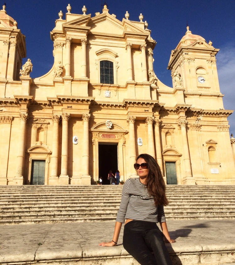 Girl in front of Noto Cathedral