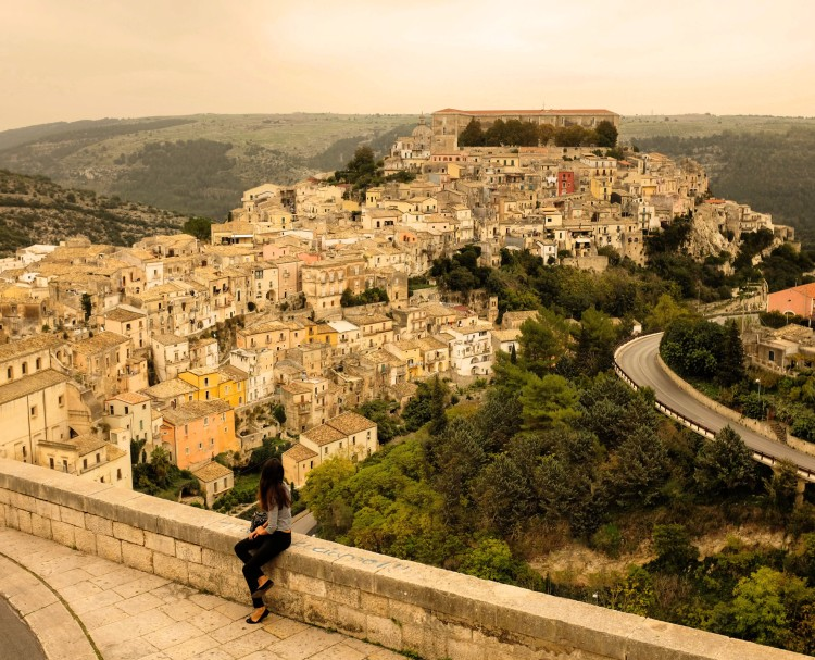 Girl in front of Ragusa Ibla