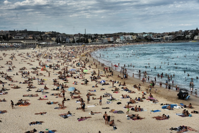 Crowded Bondi beach