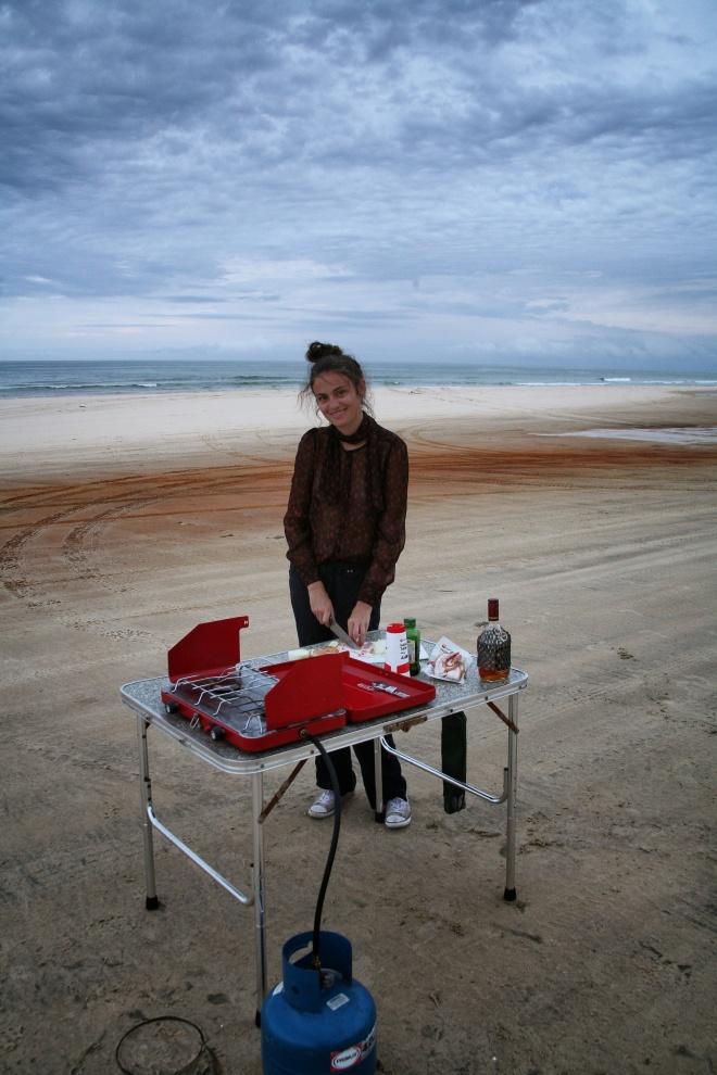 girl cooking on Fraser Island