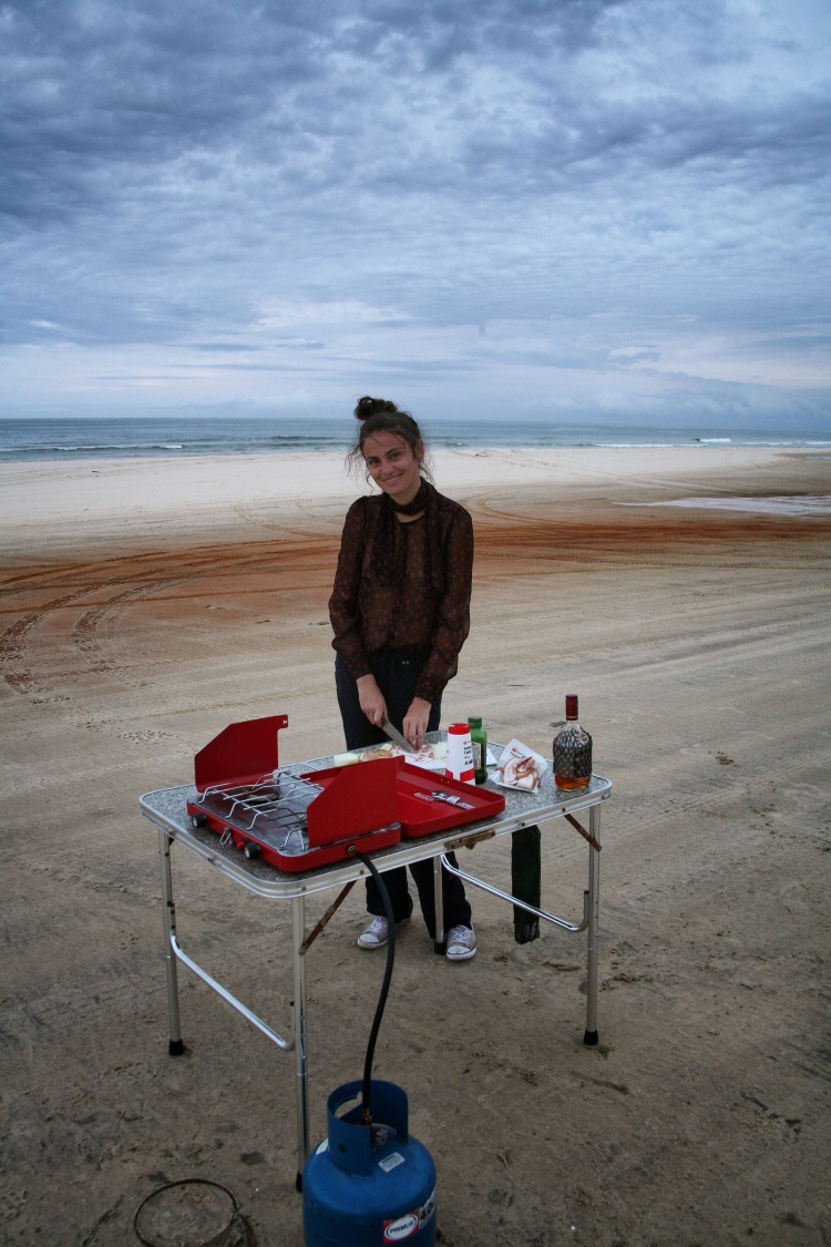 girl cooking on Fraser Island
