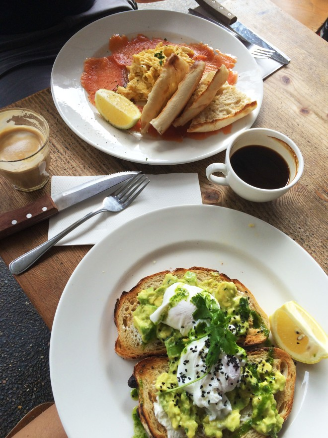 Brunch in Bondi with avocado and salmon
