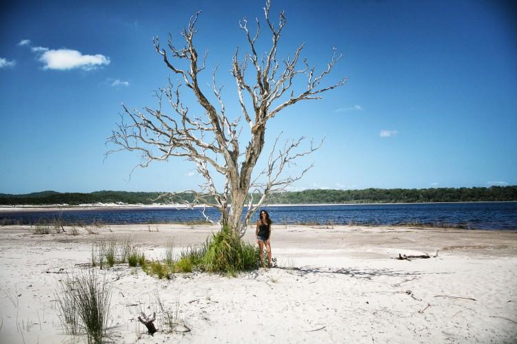 Girl under tree in Fraser Island