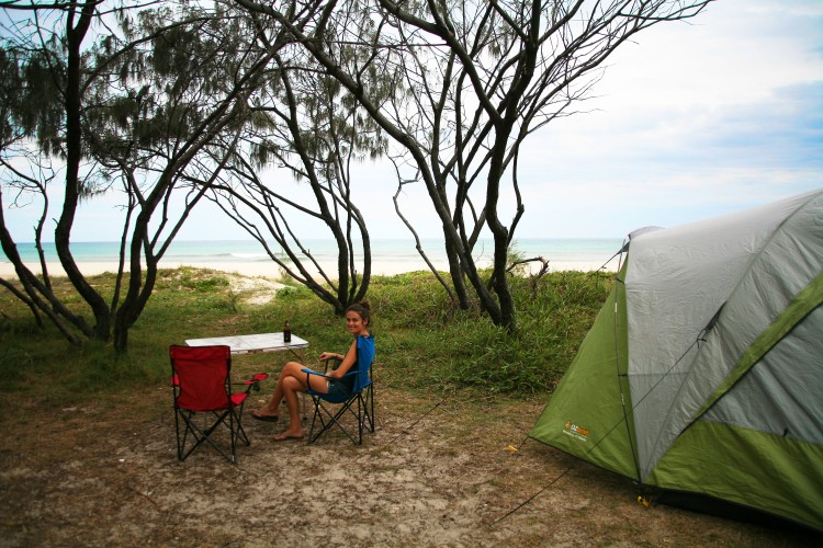 Girl in front of tent on Fraser Island