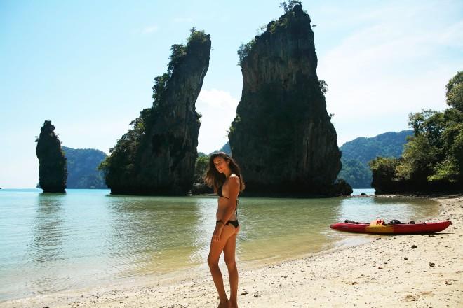 girl in bikini on beach thailand