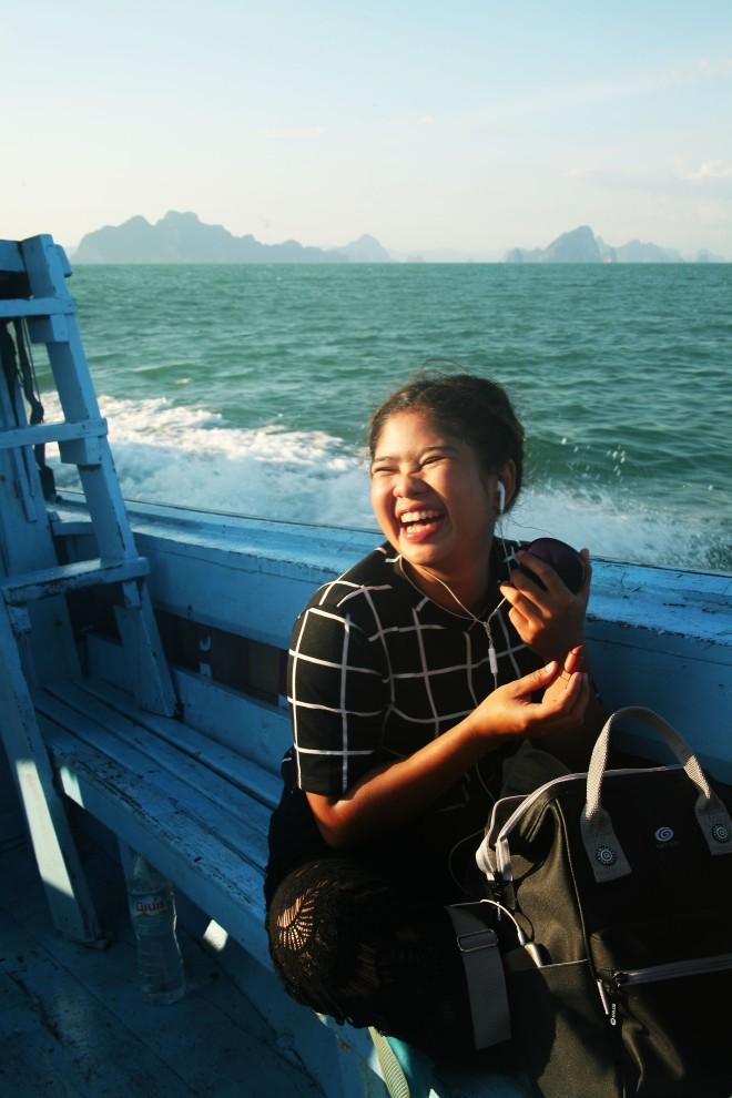 thai girl on boat in thailand