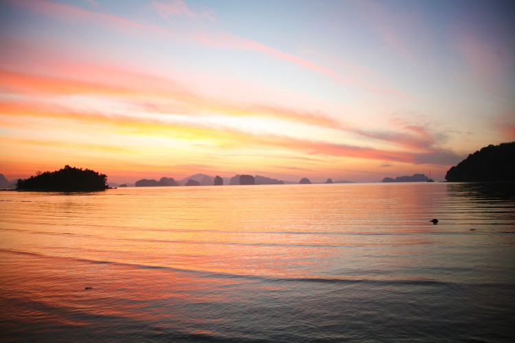 sunrise with rocks in thailand koh yao noi