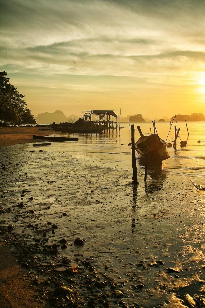 fishing boats at sunrise thailand
